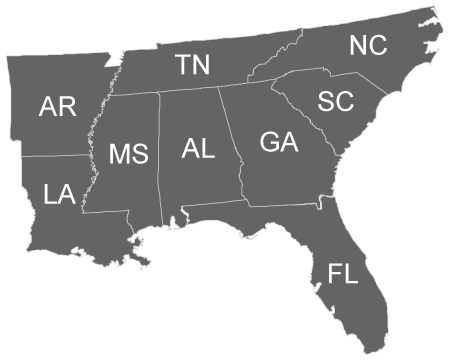 SELCAT services Alabama, Arkansas, Florida, Georgia, Louisiana, Mississippi, North Carolina, South Carolina and Tennessee.