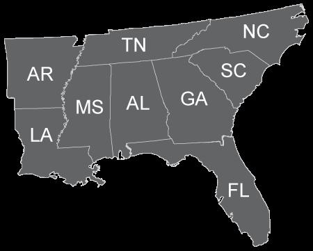 SELCAT services Alabama, Arkansas, Florida, Georgia, Louisiana, Mississippi, North Carolina, South Carolina and Tennessee.